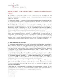 Lire le résumé de la discussion - Sustainable Finance Geneva