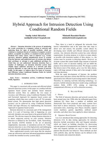 Hybrid Approach for Intrusion Detection Using Conditional Random ...