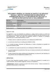 RÈGLEMENT GÉNÉRAL DU CENTRE DE SANTÉ ET ... - Csss-iugs.ca