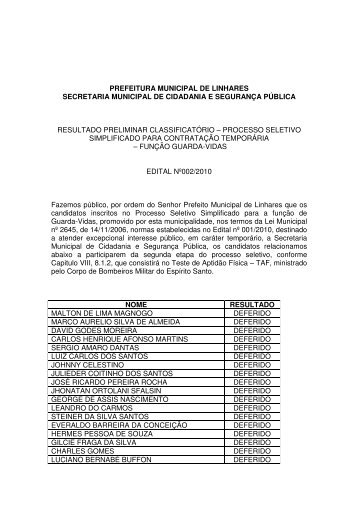 prefeitura municipal de linhares secretaria municipal de cidadania e ...