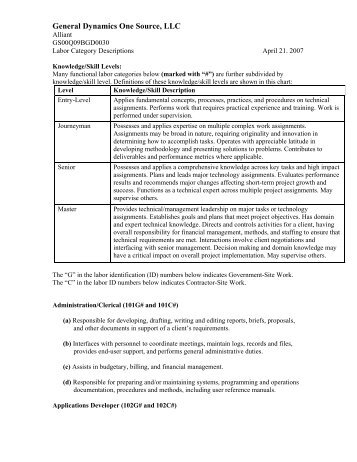 Labor Category Descriptions - General Dynamics Information ...