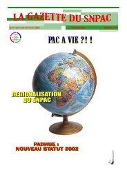 La Gazette du SNPAC / Janvier-Février- Mars 2001 / N° 14 Page 1
