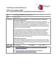 Brief van het college van B&W d.d. 13 november 2012 inzake