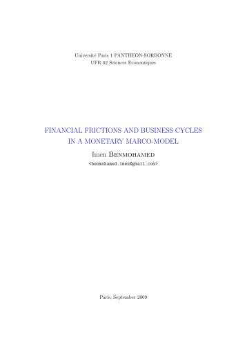 FINANCIAL FRICTIONS AND BUSINESS CYCLES IN A ...