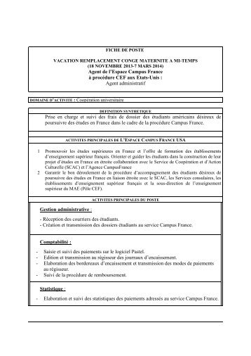 FICHE DE POSTE - Ambassade de France