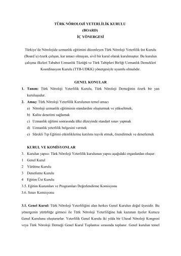 TÜRK NÖROLOJİ YETERLİLİK KURULU - Türk Nöroloji Derneği