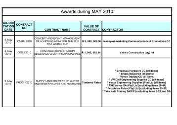 tender awards for may 2010