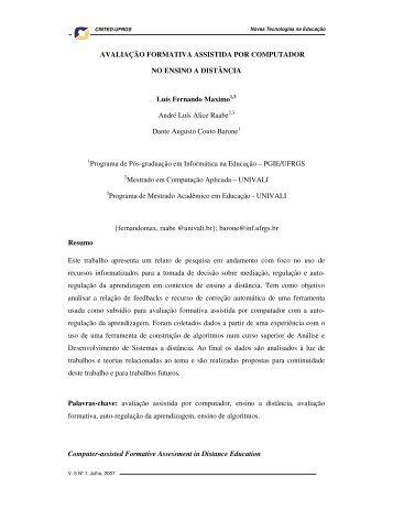 Avaliação Formativa Assistida por Computador no ... - cinted/ufrgs