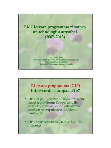 EK 7.Ietvara programma zinātnes un tehnoloģiju attīstībai (2007 ...