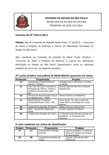 Ata da Comissão de Seleção - Edital ProAC nº 33/2012