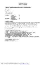 Szlavisztika alapszak Tantárgyi programok Tantárgy ... - NymE - SEK