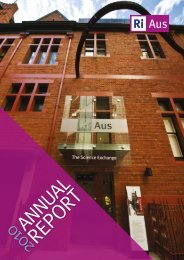 View or Download 2010 RiAus Annual Report (PDF, 836Kb)