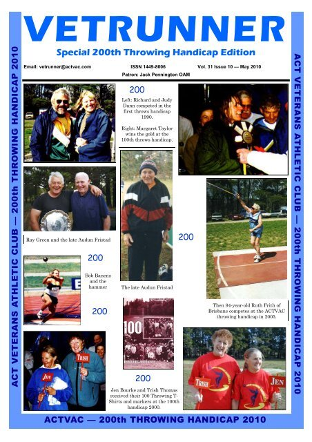 Vetrunner May 2010 - ACT Veterans Athletics Club