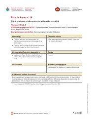 Plan de leçon no 16 : Communiquer clairement en milieu de travail (A)