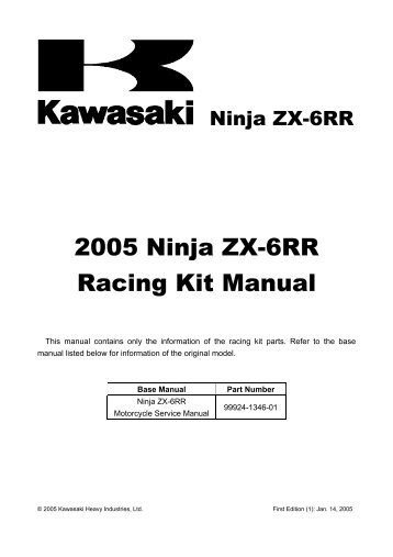 2007 ninja zx 6r racing kit manual factory pro rh yumpu com 2005 Kawasaki ZX6R kawasaki zx6r 2009 racing kit manual