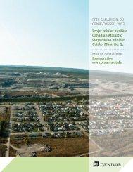 Prix canadiens du Génie-Conseil 2012 Projet minier aurifère ...