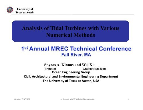 Analysis of Tidal Turbines with Various Numerical Methods