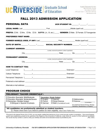 fall 2013 admission application - Graduate School of Education