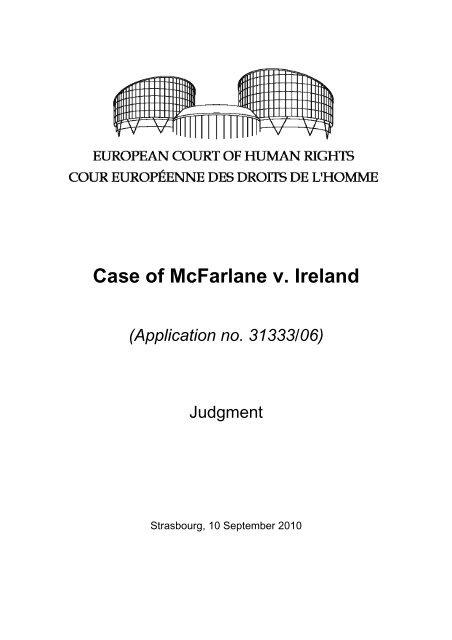 Case of McFarlane v. Ireland (Application no. 31333/06) - The ...
