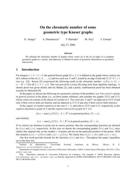 On the chromatic number of some geometric type Kneser graphs