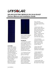 SOLAR ELECTRIC MODULE ES-124 & ES-62T Owners Manual and ...