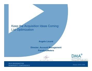 List Optimization - DMA Nonprofit Federation