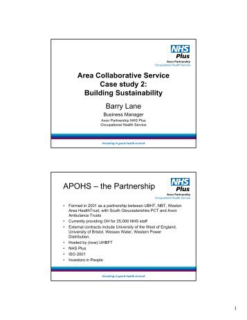 Barry Lane - Area collaborative service - NHS Health at Work