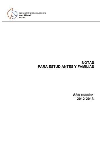 NOTAS PARA ESTUDIANTES Y FAMILIAS Año escolar 2012-2013