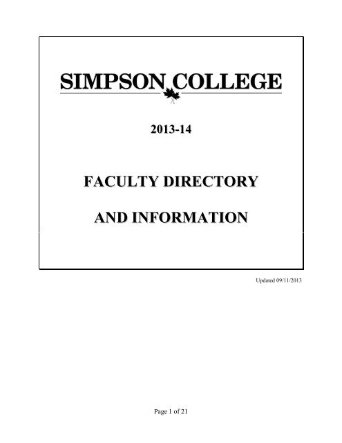 2013-14 faculty directory and information - Simpson College