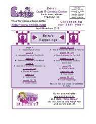 Erica's Craft & Sewing Center Online Newsletter April-June 2012