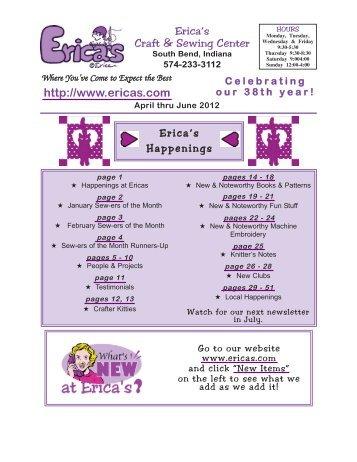 Erica's Craft & Sewing Center Online Newsletter April-June 2012