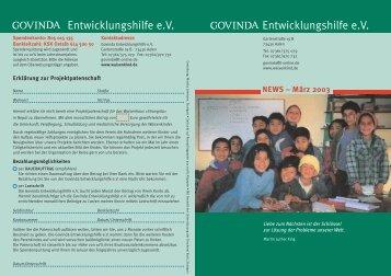 März 2003 - Govinda Entwicklungshilfe e.V.