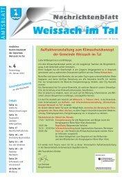 Eintritt: 2,-- € Beginn: 18.00 Uhr - Gemeinde Weissach im Tal