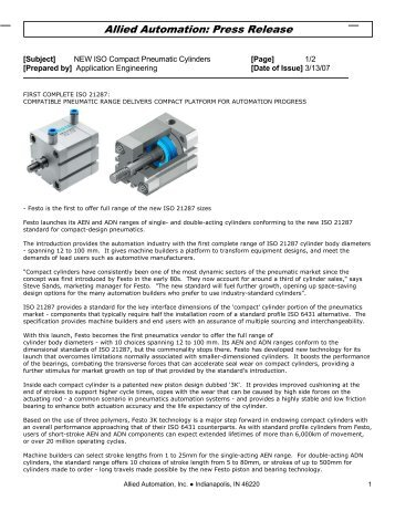 New ISO Compact Cylinders, type ADN - Allied Automation, Inc.