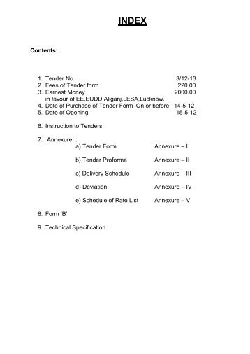 Contents: 1. Tender No. 3/12-13 2. Fees of Tender form ... - MVVNL