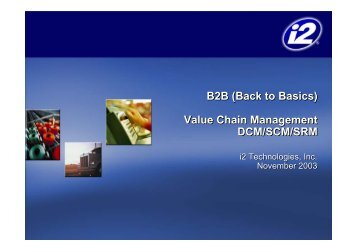 B2B (Back to Basics) Value Chain Management DCM/SCM/SRM ...