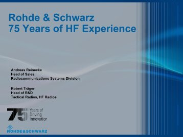 Rohde & Schwarz 75 Years of HF Experience