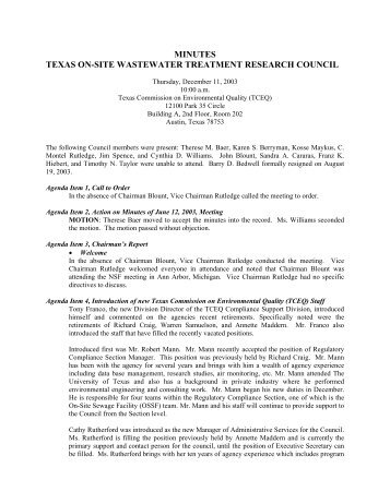 minutes texas on-site wastewater treatment research council