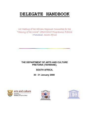 DELEGATE HANDBOOK - National Archives of South Africa