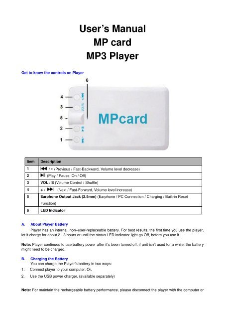 User S Manual Mp Card Mp3 Player Lenco