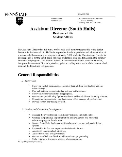 Senior Director Job Description | South Assistant Director Job Description Student Affairs
