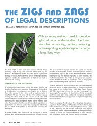 OF LEGAL DESCRIPTIONS