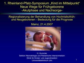 Prof. Dr. H. Hummler - Früh- und Risikogeborene Kinder Rheinland ...