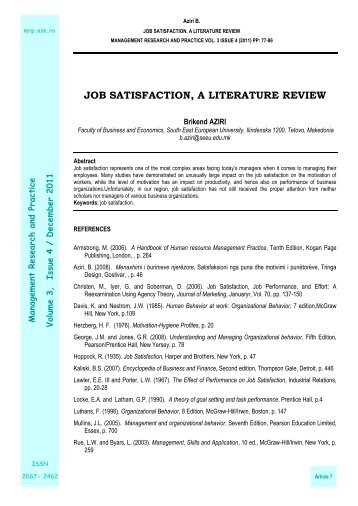 literature review of job satisfaction