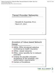 Dr. Meredith Rosenthal presentation handout - The Alliance
