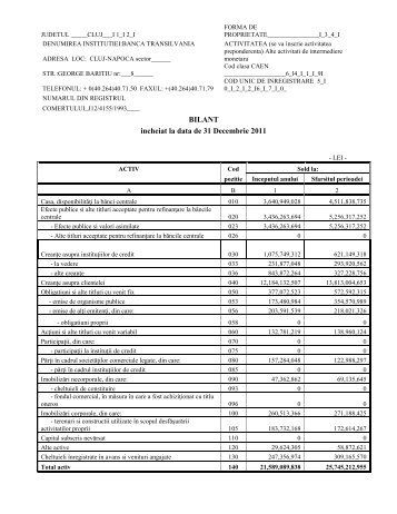 Bilant - 31.12.2011 (.pdf) - Banca Transilvania