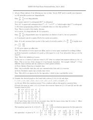MATH 401 Final Exam Solutions(Friday, July 6, 2012) 1. (20 pts ...