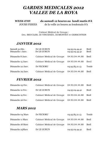 GARDES MEDICALES 2012 VALLEE DE LA ROYA - Cms.sictiam.com