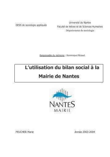l'utilisation du bilan social a la mairie de nantes - Comprendre pour ...