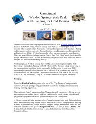 Camping at Weldon Springs State Park with Panning for Gold Demos